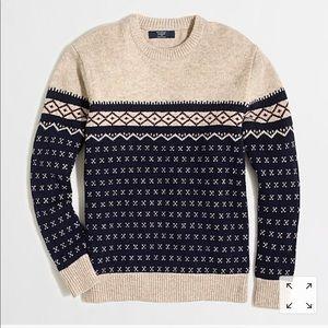J. Crew Lambswool colorblock Fair Isle sweater M